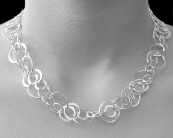 Silver Necklace, Statement Necklace, Sterling Silver Necklace, Circle Necklace, Classic Necklace, Links Necklace, Silver Rings Necklace, 925