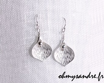 Earrings leaves serling silver or gold filled