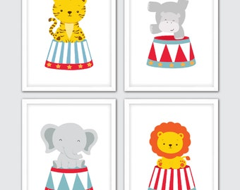 Circus Nursery Print, Circus Nursery Wall Art, Circus Baby Room Art, Baby Animal Prints For Nursery, Tiger Hippo Elephant Lion Baby Nursery