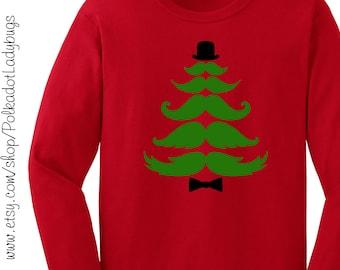 Mustache Christmas Tree Long Sleeve T shirt