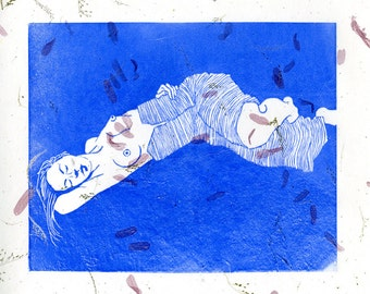 Sleeping Woman:  Linocut Print