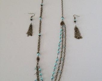 Aqua Pearl & Crystal Necklace Set