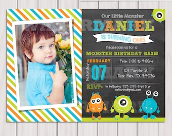 Monster birthday invitation, Little monster invitation, chalkboard invitation, Digital Monster birthday party, personalized, printable