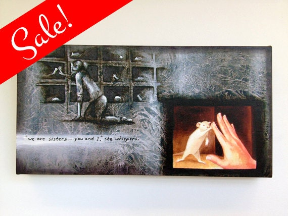 "SALE: Hand Embellished Canvas Print - ""Sisters"" - Animal liberation art."