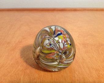 Vintage Art Glass Paper Weight Gold, Brown and Orange Swirls