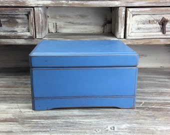 Jewelry Box, Blue Jewelry Chest,  Wooden Jewelry Box, With Plush Velvet Lining, Beach Cottage, Jewelry Holder, Large Jewelry Box, Rustic Box