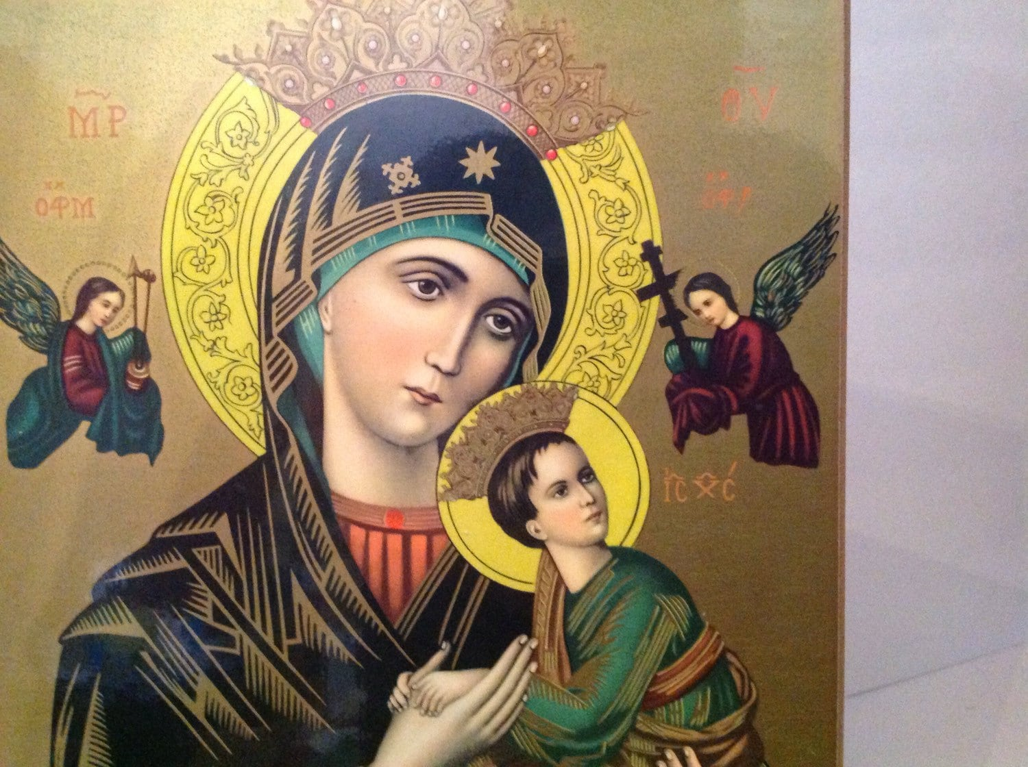 Madonna And Child Painted On Wood With Crowns Halos