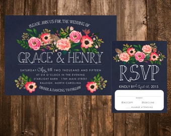 Navy & Pink Watercolor Floral Wedding Invitations; Printable OR set of 25
