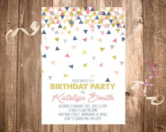Geometric Shapes Birthday Invitation