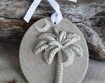 SC PALMETTO PALM Tree, Crescent Moon Sand Ornament