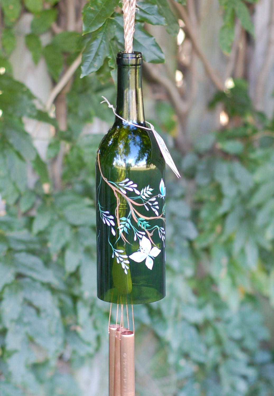 recycled wine bottle wind chime purple wisteria and blue