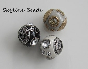Indonesia Beads, Handmade, Black, White and Beige/Stone with Rhinestones and Metal Embellishments