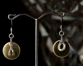 Lucky charm sterling silver earrings with standout brass round back