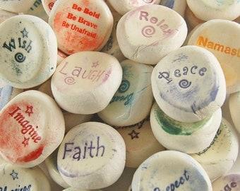 Ceramic Word Stones - Handmade