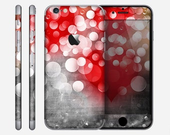 The Bright Unfocused White & Red Love Dots Skin for the Apple iPhone 6 or 6 Plus