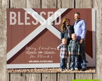Blessed Photo Christmas Card - Photo Christmas Card -  Christmas Card - Classic Modern Christmas Card