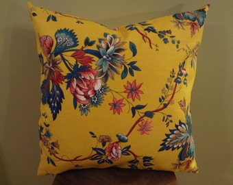 Decorative Pillow Cover Yellow Red Green Navy Blue Floral Pattern Toss Pillow Accent Pillow Throw Pillow