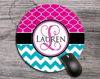 Computer Monogrammed Mousepad - Sparkling Magenta pattern and Turquoisechevron with Name or Monogram custom office mat, boss gift - 153