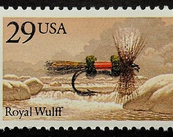 Fly fishing lures Royal Wulff USA -Handmade Framed Postage Stamp Art 18083