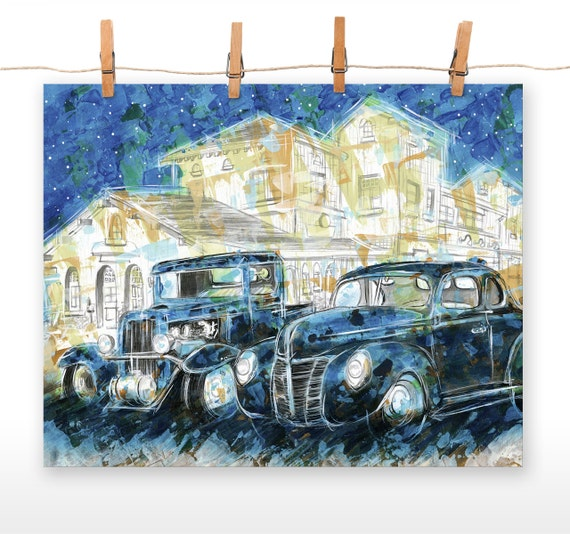 1932 vs 1940 16x20 Poster Print of an Original Acrylic Painting of a 1932 Chevy and 1940 Ford
