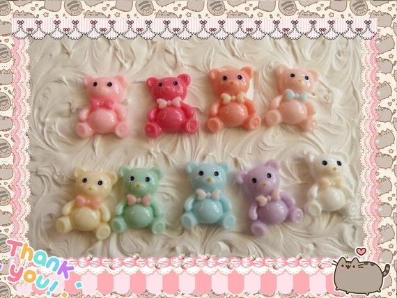 0: )- CABOCHON -( Rainbow Teddy Bear Bow