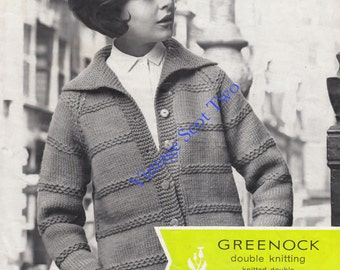 Collared Jacket  knitted in Chunky / Bulky Knit or DK yarn used double sizes  34 - 38 ins - Greenock 832 - PDF of  Vintage Knitting Pattern