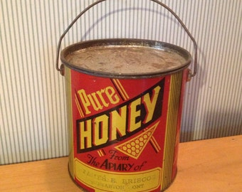Vintage Large James Brisco Honey Tin Pail