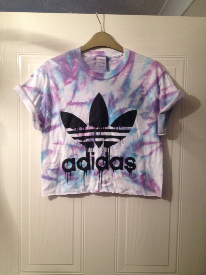 Unisex customised adidas tie dye cropped t shirt festival for Nike tie dye shirt and shorts