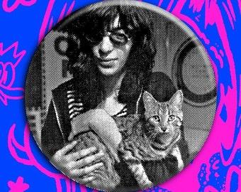 "Joey Ramone cuddlin' a kitty cat pin 2.25"" button vintage style badge (ramones, punk, cats)"