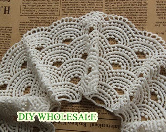 10cm wide Lace Fabric Trim beige Embroidery  Lace Gauze  Water soluble lace 1 yard
