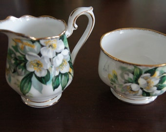 Royal Albert Orange Blossom Mini Cream and Sugar bowl