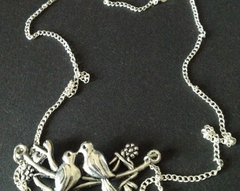 Vintage Sterling Love Birds Panel Necklace