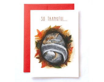 Thank You Card, Fall Greeting Card, Squirrel Card, Thanksgiving Thank You Card, Fall Card, Autumn Card, Foliage, Red, Orange, Watercolor