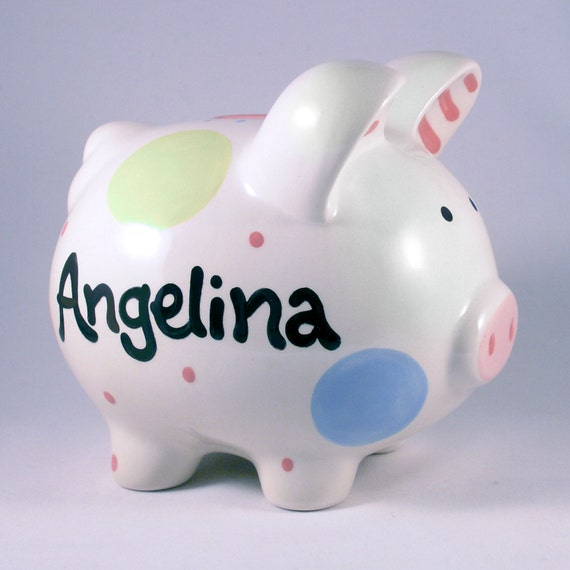 Baby Gift Piggy Bank : Baby girl new gift personalized piggy bank