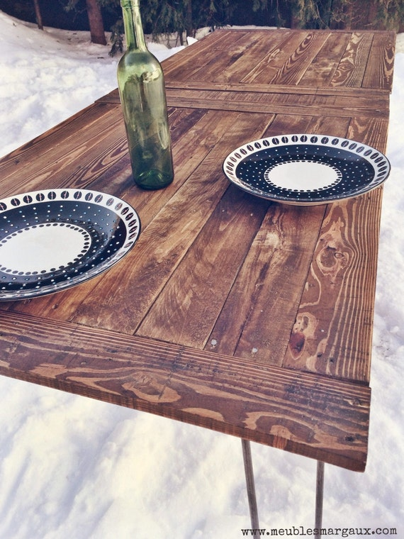 Table industrielle en bois recycl montreal by - Table industrielle bois metal ...