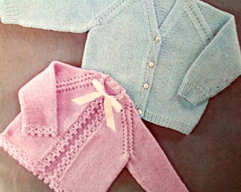vintage baby knitting pattern for cardigan and matinee jacket with crochet edging 16 18 and 20 inches