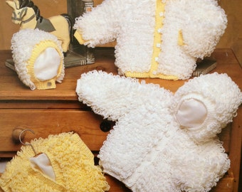 vintage knitting pattern for baby or toddler girls loopy cardigan jacket bolero and bonnet 0-4 years
