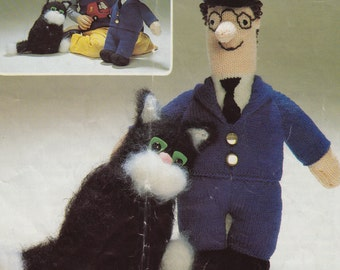 vintage toy knitting pattern postman pat and jess the cat instant download PDF