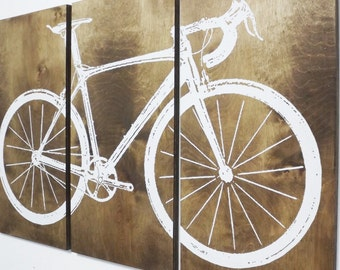 Road Bike / Street Bike Wall Art /  Bicycle Screen Print / Wood Wall Art on Stained Solid BIRCH 3/4 inch thick • Gift for Him / Her