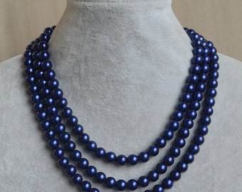 navy blue pearl Necklace,Triple Pearl Necklace,Wedding Necklace,bridesmaid necklace,Jewelry,Glass Pearl Necklace