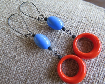 retro earrings, blue and orange earrings, unique earrings, modern earrings, urban earrings, casual earrings, long earrings, hoop earrings