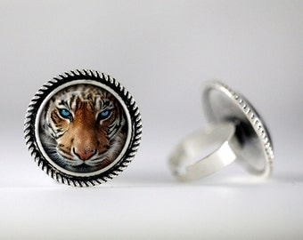 Tiger ring 20mm Tiger Jewelry 20mm Antique Silver Bead-edged Ring  One size Adjustable Ring