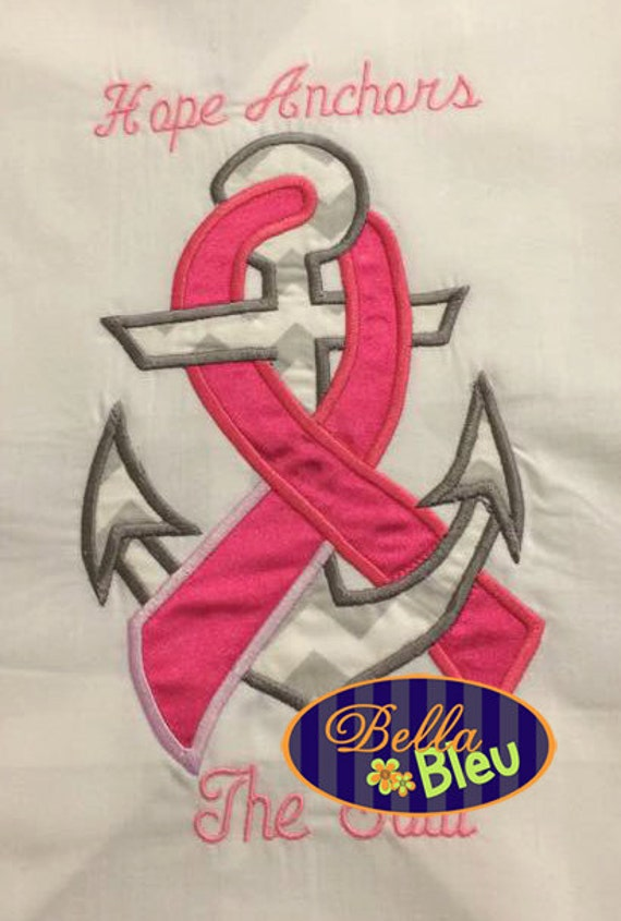 breast cancer anchor machine applique embroidery designs