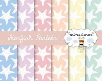 Starfish Digital Papers,Seaside,Pastel Colours,Starfish Clipart,Coral Starfish,Beach Clipart,Starfish Decor,Starfish Print,Nautical,Sand,Sea