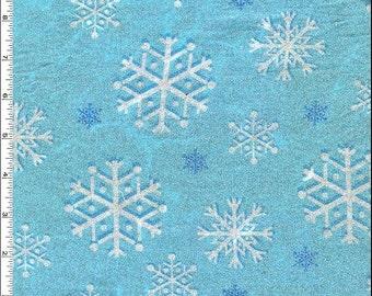 End of Bolt - 1 yd  24 inches x 44 inches (1-2/3 yd) Snowfall Metallic Glitter Blizzard Fabric - Snowflake - Michael Miller in Blizzard Aqua