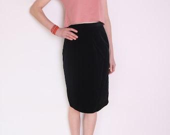90's black velvet pencil skirt, black high waisted skirt, grunge skirt, office secretary skirt, midi skirt