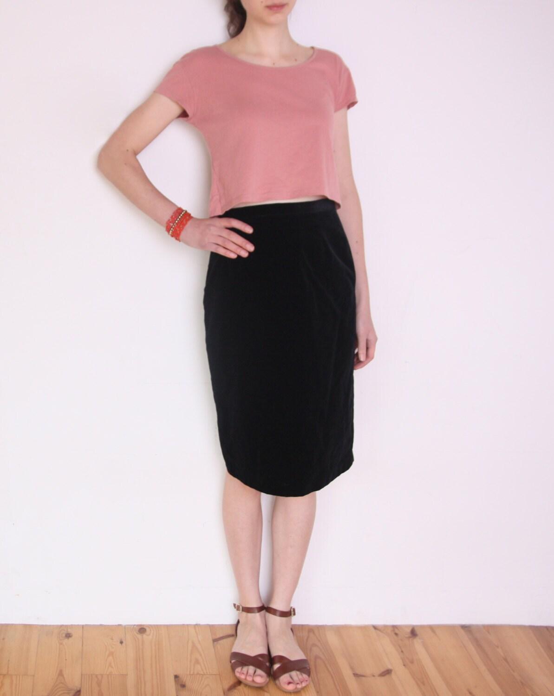 90 s black velvet pencil skirt black high waisted skirt