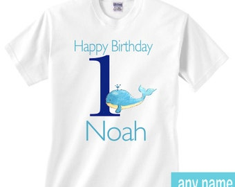 first birthday whale shirt - any name