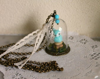 Fawn Necklace, Glass Bell Necklace, Resin Fawn Necklace, Glass Pendant, Glass Bell Pendant