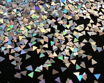 solvent-resistant glitter shapes-silver hologram triangles